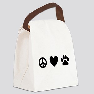 Peace Love Dogs [st b/w] Canvas Lunch Bag